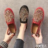 單鞋女2019春季新款鉚釘亮片平底女士懶人一腳蹬樂福鞋休閑豆豆鞋 LJ9332【極致男人】