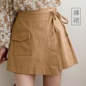 現貨-MIUSTAR 掀片式綁帶單口袋鬆緊斜紋布褲裙(共2色,M-L)【NH2344】