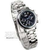 LONGBO 仿三眼造型時尚流行腕錶 銀x黑 女錶 L8338黑小