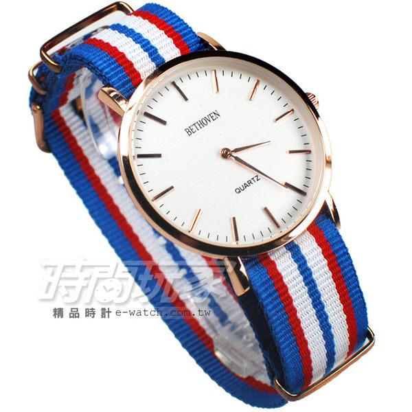 BETHOVEN 優雅巴黎雙配色時尚腕錶 帆布錶帶 造型 女錶/中性錶 玫瑰金電鍍x白藍紅 BE5557淺白紅5