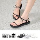 [Here Shoes]涼鞋-MIT台灣製 跟高2cm 套趾涼拖鞋 圓頭綁繩造型 簡約百搭款-AIW755