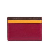 【COACH】防刮皮革拼色卡夾/名片夾(咖/橙/深紫)F11739 SVMJ9