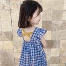 女童洋裝夏季女童棉麻連身裙21新款中小童韓版格子裙寶寶小飛袖韓版短裙 快速出貨