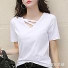 短袖女2020新款夏季白色t恤女V領寬鬆...