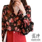 EASON SHOP(GW7382)韓版滿版花朵碎花印花薄小透視前排釦V領泡泡袖長袖雪紡襯衫女上衣服落肩寬鬆內搭
