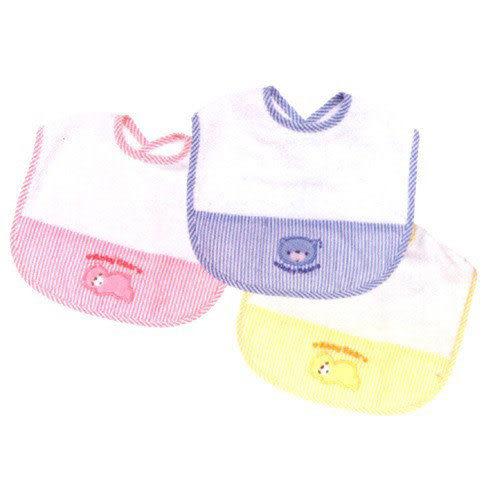 【奇買親子購物網】艾比熊剪接布抗菌防臭圍兜(水藍/粉紅/黃色)