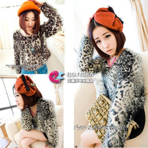 針織衫*艾爾莎*微蝙蝠袖豹紋毛毛圓領針織衫【TAL3553】
