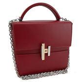【奢華時尚】秒殺推薦!HERMES 酒紅色牛皮銀鍊肩箱型包(九成新)#23556