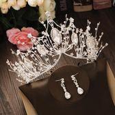 尾牙年貨節奢華新娘皇冠頭飾金色大氣韓式婚紗禮服項鏈耳環三件套結婚配飾品洛麗的雜貨鋪