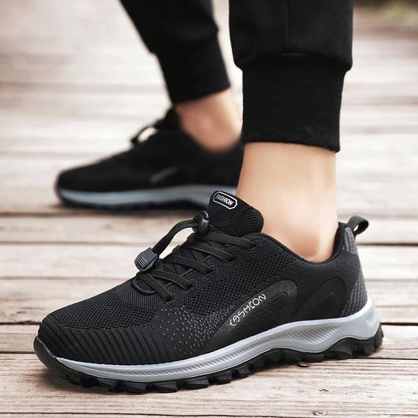 中老年爸爸鞋春秋款戶外舒適休閒鞋防滑軟底輕便運動健步鞋網面鞋【快速出貨】
