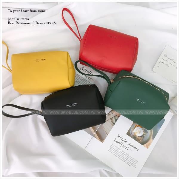 化妝包-簡約文字手拿化妝隨身小包-共6色-A09090193-天藍小舖