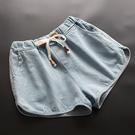 東京奈奈日系寬腿鬆緊腰寬鬆牛仔短褲[j01536]