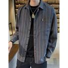 夏秋季新款男士韓版潮流長袖襯衫條紋襯衣格子帥氣外套《朵拉朵》