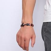 三色船錨編織手鍊 鈦鋼 手環 手飾 同性 海洋 船 情人節禮物 生日禮物 沂軒精品 F0054