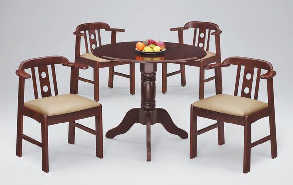 【 IS空間美學】3尺圓車軹腳餐桌+企鵝椅(一桌四椅)