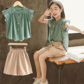 女童夏裝2019新款韓版洋氣時髦套裝夏季兒童裝大童時尚短袖兩件套洛麗的雜貨鋪