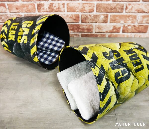 工業風造型垃圾桶 收納桶 皮革製廢紙簍 復古流行創意仿真爆裂配色風格 防潑水置物籃-米鹿家居