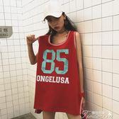 夏韓版原宿風bf港味中長款復古ins無袖背心T恤裙女學生潮提拉米蘇