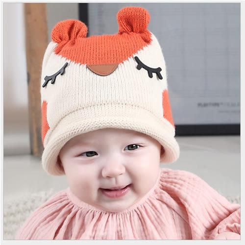 韓版瞇瞇眼啄木鳥兒童針織帽