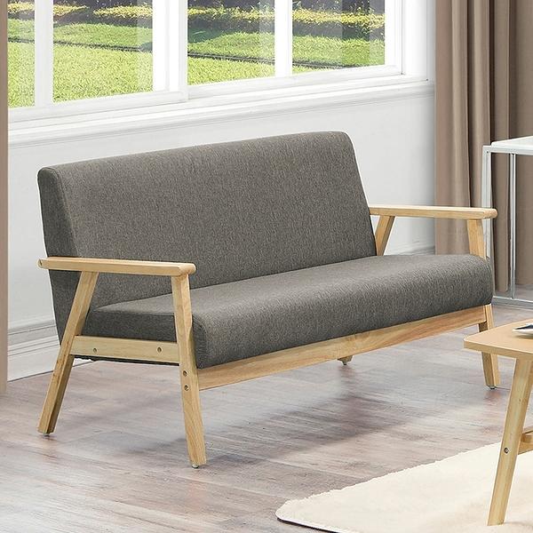 【森可家居】亞克二人座灰色布沙發 8ZX513-4 雙人椅 淺色架