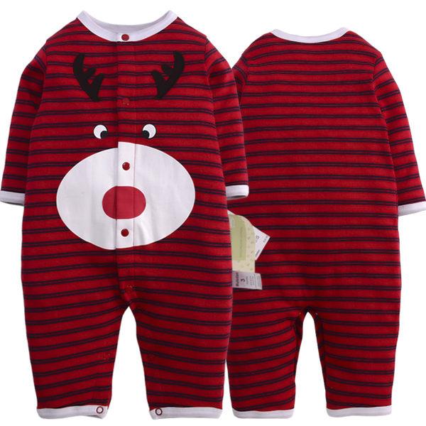 長袖連身兔裝 聖誕節慶可愛條紋麋鹿印花 全開扣寶寶連身衣.哈衣~EMMA商城