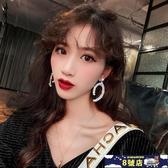 925銀針幾何珍珠水鉆耳環長款韓版個性氣質網紅名媛耳飾耳墜女 8號店