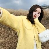 店長推薦 新款韓版仿水貂絨黃色皮毛一體外套女冬短款寬松皮草大衣
