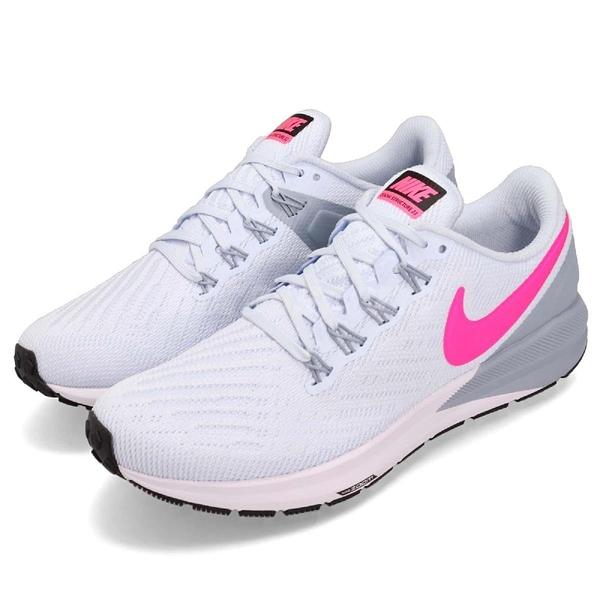 Nike 慢跑鞋 Wmns Air Zoom Structure 22 藍 粉紅 氣墊避震 運動鞋 女鞋【PUMP306】 AA1640-402