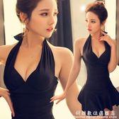 大尺碼泳衣韓國溫泉泳衣女保守韓國遮肚鋼托裙式小胸聚攏連身性感顯瘦泡溫泉 科炫數位