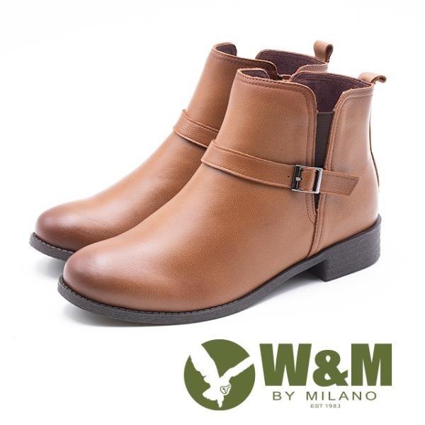 【南紡購物中心】W&M 簡約素面小釦飾 拉鍊短靴 女鞋 - 淺咖 (另有 黑)
