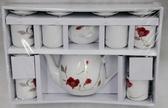 紅玫瑰茶具組6入 結婚用品 吃新娘茶 訂婚奉茶【皇家結婚百貨】