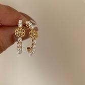 氣質山茶花造型耳環 法式復古珍珠花朵耳圈耳環女S925銀針耳釘女 童趣屋 免運