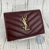 BRAND楓月 Saint Laurent YSL 聖羅蘭 530841 深紅色 魚子醬皮 金色LOGO 短夾 錢包