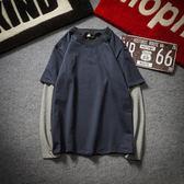 圓領假兩件長袖T恤 加大碼學生衛衣男裝【非凡上品】cx822