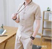 唐裝/漢服-中國風短袖套裝男式唐裝青年古裝禪服夏季薄款漢服男士古風套  東川崎町