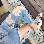 [S-5XL] 新品大碼破洞九分牛仔褲女高腰寬鬆小腳哈倫褲 - 巴黎衣櫃