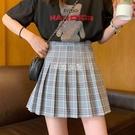 夏季新款學院風JK英倫格子高腰顯瘦百褶裙a字短裙半身裙女