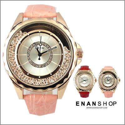 惡南宅急店【0522F】香港品牌KEZZI 貝殼框滿鑽搖晃 女錶 皮革質感 精緻單品 皮革錶 (5款)