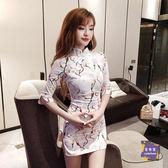 旗袍 改良旗袍夏季2019新款女裝時尚少女中國風中袖收腰包臀旗袍洋裝 S-L