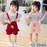 女童夏裝套裝2020新款1-2-34歲童裝兒童洋氣背帶褲兩件套寶寶潮裝 OO5593【甜心小妮童裝】