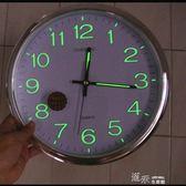 創意圓形掛鐘靜音強夜光客廳墻鐘 家居臥室創意時鐘夜光鐘掛鐘錶igo 道禾生活館