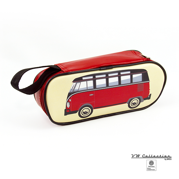 VW Brisa T1 Bus 文具/化妝用品盒-紅/黑