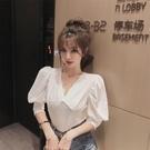 2020新款素色韓版修身V領泡泡袖氣質顯瘦減齡短款短袖T恤女上衣夏 交換禮物