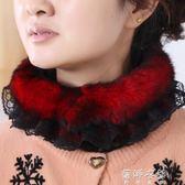 圍脖女 秋冬季兔毛圍巾女 冬天韓版時尚蕾絲皮草脖套加厚保暖 蓓娜衣都
