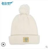 卷邊毛線帽休閒學院針織帽女款帽子多色可選撞色球球帽-風尚3C