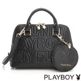PLAYBOY- 2WAY貝殼包 Fashion Brand 時尚烙印系列-時尚黑