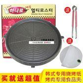 韓國圓烤盤麥飯石圖層韓式烤肉盤無煙燒烤盤戶外便攜鐵板燒igo 美芭