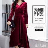 媽媽裝禮服 秋冬長袖金絲絨洋裝女中老年新款大擺晚禮服 BF8589『寶貝兒童裝』