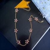 日韓短款項鍊 簡約紫色水鑽星星鏈條頸鏈個性鎖骨鏈女【ADE683】