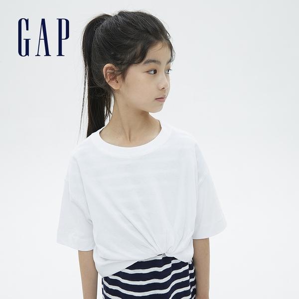 Gap女童 厚磅密織系列碳素軟磨 純棉短袖T恤 755464-白色